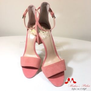 Vince Camuto Pink Suede Ankle Strap Open Toe Heels